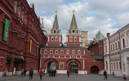 State Historical Museum and Moscow Kremlin. Moscow Street scene. Royalty Free Stock Image
