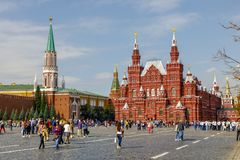 State historical Museum and the Moscow Kremlin from Red square stock photos