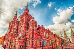 The State Historical Museum on Red Square, Moscow, Russia. Scenic view of the State Historical Museum from Red Square, iconic landmark in central Moscow, Russia Royalty Free Stock Photos