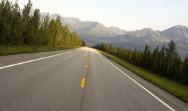 Traveling Hwy 2 Alaska Mountain Country Scene Stock Image