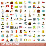 100 state icons set, flat style. 100 state icons set in flat style for any design vector illustration Stock Photos