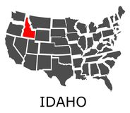 State of Idaho on map of USA Royalty Free Stock Photo