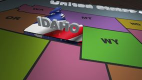 Idaho pull out from USA states abbreviations map. State Idaho pull out from USA map with american flag on background. A map of the US showing the two-letter stock footage
