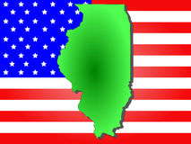 State of Illinois. Map of the State of Illinois and American flag royalty free illustration