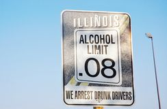 State illinois alcohol limit sign. If you on the road in state Illinois and see the sign like this ,may be  one day you'll remember it once more Royalty Free Stock Image