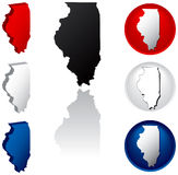 State of Illinois Icons. Illinois Icons in Red White and Blue royalty free illustration