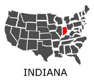 State of Indiana on map of USA Stock Images