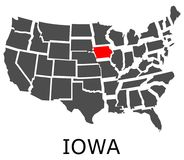 State of Iowa on map of USA Stock Image