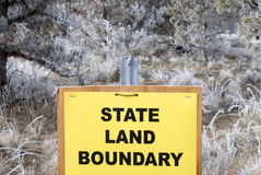 State Land Boundary Sign. In front of Oregon BLM Wildlands Stock Photos