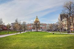 State Library of Massachusetts and Boston Common public park Royalty Free Stock Photography