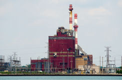 State Line Generating Plant, Hammond, Indiana. The State Line Coal Power Plant at the shores of Lake Michigan in Hammond, Indiana,was called one of the dirtiest Stock Photography