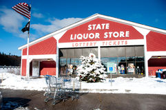 State Liquor store at NH I93 rest stop. Bow, NH, USA:  Although Christmas is over, decorations still brighten the scene in front of the State Liquor Store at the Stock Image