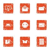 State mail icons set, grunge style. State mail icons set. Grunge set of 9 state mail vector icons for web isolated on white background Stock Photo