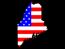 State of Maine. Map of the State of Maine and American flag Royalty Free Stock Photos