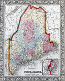 State of Maine. County map of the State of Maine ; Portland Harbor and vicinity inset1860 Royalty Free Stock Photos