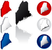 State of Maine Icons. Maine Icons in Red, White and Blue Royalty Free Stock Photography