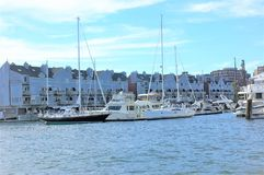 State maine portland usa oceanfront condos yachts. There are numerous yachts nearby oceanfront condos in the Portland city , state Maine , USA. Its real pleasure royalty free stock photo