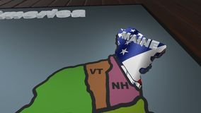 Maine pull out from USA states abbreviations map stock video footage