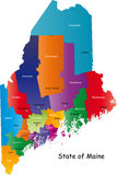 State of Maine, USA. Maine state contour with capital, countie and countie Seat. Vector illustration Royalty Free Stock Image