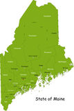 State of Maine, USA. Maine state contour with capital, countie and countie Seat. Vector illustration Royalty Free Stock Photos