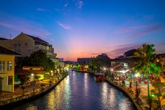 Landscape of the old town in melaka malacca, Malaysia. A state in Malaysia located in the southern region of the Malay Peninsula, next to the Strait of Malacca stock images