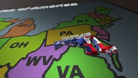 Maryland pull out from USA states abbreviations map. State Maryland pull out from USA map with american flag on background. A map of the US showing the two stock video footage