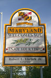 State of Maryland Welcomes You sign, Washington D.C. area Royalty Free Stock Photos
