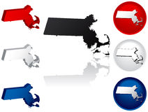 State of Massachusetts Icons. Massachusetts Icons in Red, White and Blue Royalty Free Stock Photo