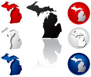 State of Michigan Icons. Michigan Icons in Red, White and Blue Royalty Free Stock Photography