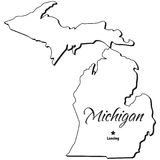 State of Michigan Outline Royalty Free Stock Photos