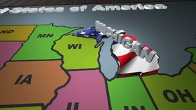 Michigan pull out from USA states abbreviations map. State Michigan pull out from USA map with american flag on background. A map of the US showing the two stock video