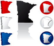State of Minnesota Icons. Minnesota Icons in Red, White and Blue Royalty Free Stock Images