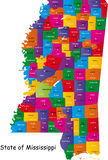State of Mississippi. Map of Mississippi state designed in illustration with the counties and the county seats Royalty Free Stock Photo