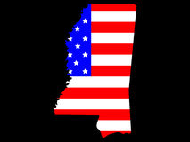 State of Mississippi. Map of the State of Mississippi and American flag Royalty Free Stock Image