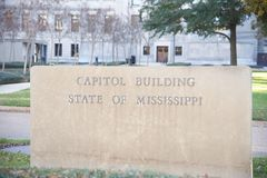 State of Mississippi Capital Building Sign. Sign outside the Capital Building of the state of Mississippi, Jackson Mississippi Stock Photography