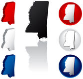 State of Mississippi Icons. Mississippi Icons in Red, White and Blue Stock Image