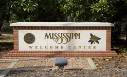 State of Mississippi Welcome Sign. With Magnolia and State Seal stock photo