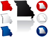 State of Missouri Icons. Missouri Icons in Red, White and Blue Royalty Free Stock Image