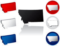 State of Montana Icons. Montana Icons in Red, White and Blue Royalty Free Stock Photography