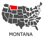State of Montana on map of USA Stock Photography