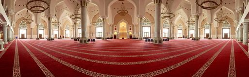 State Mosque. Panoramic view of State Mosque Qatar royalty free stock photography