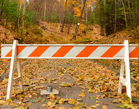 State or national park closed. Access restricted to park with orange striped barricade stock photography