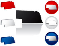 State of Nebraska Icons. Nebraska Icons in Red, White and Blue Royalty Free Stock Images