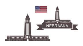 State of Nebraska. Nebraska State Capitol in Lincoln vector illustration