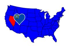 State of Nevada. Nevada state outline and icon inset set into a map of The United States of America Stock Photos
