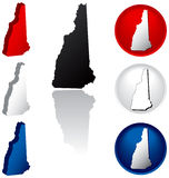 State of New Hampshire Icons. New Hampshire Icons in Red, White and Blue Stock Image