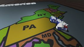 New Jersey pull out from USA states abbreviations map. State New Jersey pull out from USA map with american flag on background. A map of the US showing the two stock video
