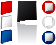 State of New Mexico Icons. New Mexico Icons in Red, White and Blue Royalty Free Stock Photography