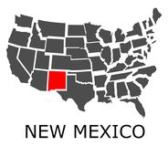 State of New Mexico on map of USA Royalty Free Stock Image
