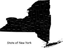 State of New York. Blind map of New York state designed in illustration with the counties Royalty Free Stock Photos
